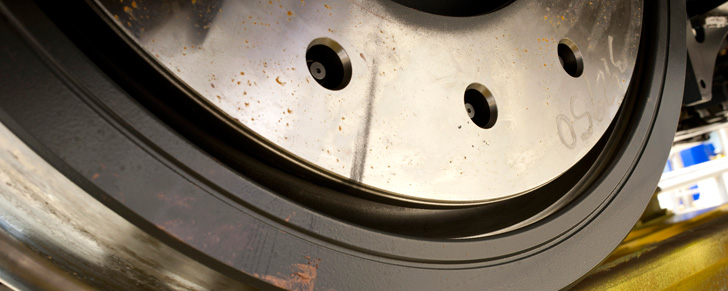 Detail of the friction between the wheel and track.